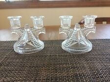 (Pair) Vintage Crystal Double Candle Stick Clear Cut Glass Candle Holder (141)