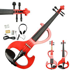 New 8 Pattern Electric Violin Silent Red  w/ Case & Accessories