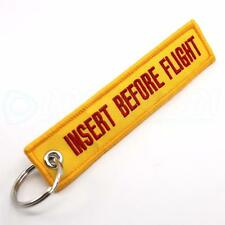 INSERT BEFORE FLIGHT QTY= 1 PC YELLOW/red KEYCHAIN RING TAGS CABIN CREW