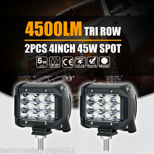 "2X TRI-ROW CREE 4""INCH 45W LED WORK LIGHT BAR SPOT OFFROAD 4WD SAVE ON 18W FLOOD"