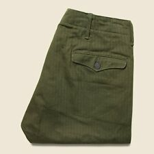 $290 RRL Ralph Lauren 1940s Olive Military Cotton Officer's Chino Pant-33Wx32L