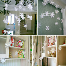 1PC 3m White Paper Material 3D Snowflake Pendant Garland Christmas Decor AT