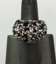 JCM Sterling Silver Pave BLACK/WHITE CRYSTAL DOME RING -SZ6 & 14.8gr