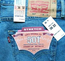 New Levi's 501 Mens Regular Fit Stretch Jeans Size 36 x 32 Light Blue Levis