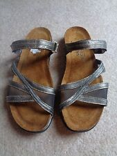 Womens NAOT Stella Leather Gold Metal/ Mesh Slip-On Adjustable Sandals Size 38