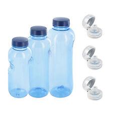 0,5+0,75+1 L Wasserflasche Tritan BPA frei + 3xTrinkdeckel Flip Top Trinkflasche