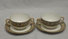 Limoges France Elite Works 2 Bouillon Cups and Saucers