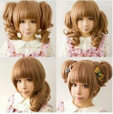 Light Brown Friendly Clip on 2 Ponytails Wavy Hair Wig/Lolita Cosplay Wig