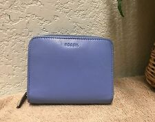 Fossil Blue Periwinkle Leather Organizer Wallet Clutch ID Pocket Key Ring