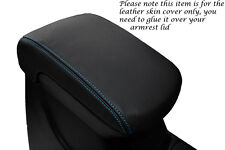 BLUE STITCHING FITS MITSUBISHI L200 2010+ BLACK LEATHER ARMREST COVER ONLY