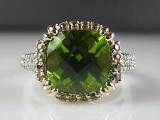 Peridot Citrine Diamond Ring 14K Two-Tone Green Checkerboard Fine Jewelry $3500