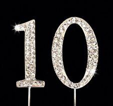 10th Birthday Anniversary Number Cake Topper Sparkling Rhinestones 1.75 Inches