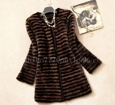 100% Real Knitted Mink Fur Long Coat Outwear Jacket Sweater Vintage Handmade