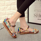 Women's Beading Flats Round Toe Embroidered Shoes Lace Up Colorful Casual Shoes