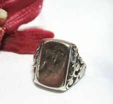 Alter Siegelring 835 er Silber mit fast freier Platte Fingerring / au 764