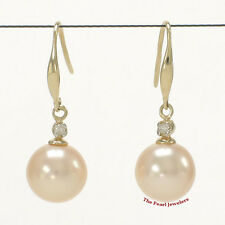 14k Yellow Gold Sparkling Diamond; AAA Peach Round Cultured Pearl Hook Earrings
