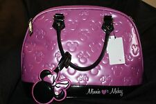 Loungefly Mickey Mouse,Minnie Mouse X-Lge Embossed Satchel Purse Pink & Black.