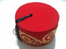 Embroidered Fez Fes Red Turkish Ethnic Ottoman Hat Tassle Tarboosh Cultural
