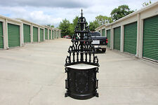 Spectacular Ebonized Victorian Rococo Gothic Marble Top Etagere Corner Cabinet