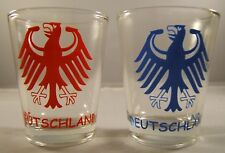 2 Pc.Set German Deutschland Coat Of Arms Shot Glas Oktoberfest / Bar Collectible