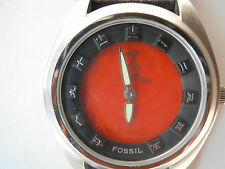 Fossil men's blk leather band,quartz,battery & water resist analog dress watch.