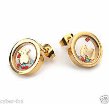 High Quality Gold Plated Floating Crystal Bear Stainless Steel Earrings Jewelry