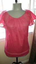 GAP  Ladies Pink Cotton Eyelet Trim Short Sleeve Blouse  Sz SM/MD  NWT
