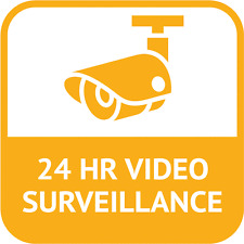 "24 Hours Video Surveillance Sign Security Car Bumper Sticker Decal 5"" x 5"""