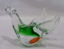 MURANO CASED CLEAR GREEN  ART GLASS BIRD FIGURINE