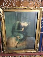 "George Frederic Watts 19th Cent.  ""Hope"" Hand Colored Print in Art Nouveau Frame"