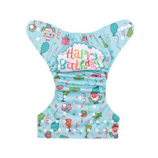 Alva Happy  Birthday Reusable Washable Baby Cloth Diaper Pocket Nappy+1Insert