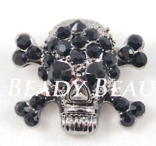 SKULL & CROSSBONES BLACK/GUNMETAL GOTH LARGE CRYSTAL RHINESTONE BUTTON SHANK