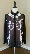 Modcloth Magnum Corpus Top S Iron Fist Sheer Black Conjoined Skeletons Punk Chic