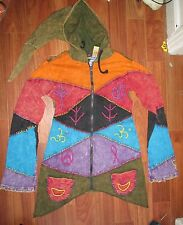 BNWT ACID WASHED RAINBOW ZIP HOODIE WITH EMBROIDERY  HIPPY ETHNIC FESTIVAL