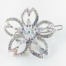 USA Hair Clip use Swarovski Crystal Hairpin barrette Round Silver AB Flower 11