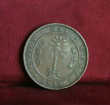 1 Cent 1912 Ceylon Sri Lanka Copper World Coin KM107 George V India