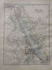 1900 VICTORIAN MAP ~ RED SEA SUDAN EGYPT MOUTH OF THE NILE CAIRO SINAI ERITREA