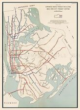 MAP ANTIQUE 1939 NYC NEW YORK SUBWAY EXTENSION PLAN REPLICA POSTER PRINT PAM2035