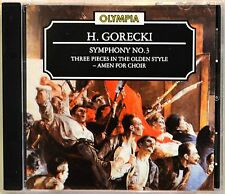 H Gorecki Symphony No 3 Three Pieces in the Olden Style Amen for Choir CD NICE