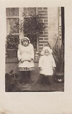 Two Children, One With Toy Hoop - Charming Outfits - Bonnets, Andre Stern, Avize