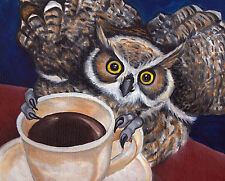 HORNED OWL & Coffee Bird 8x10 Signed Art PRINT of Original Oil Painting by VERN