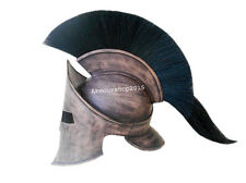 300 LEONIDAS ARMOR HELMET IN IRON COVERED WITH BROWN LEATHER AND BLACK PLUME