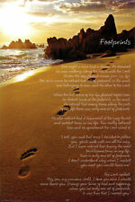 """FOOTPRINTS IN THE SAND POSTER     LARGE 24"""" X 36""""    - NEW"""