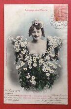 CPA. MARGUERITE. Langage des Fleurs. 1904. Bergeret. Jeune Femme.