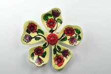 Flower Power Brooch Vintage Pin Signed Western Germany Hand Painted Folk Art BIG