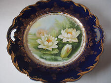 Antique Cobalt Gold Hand Painted Monet Water Lilies Nymph Cabinet Handled Plate