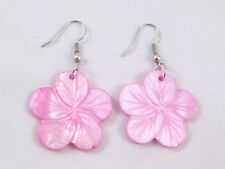 New Mother of Pearl Shell Hawaiian Hibiscus Flower Earrings in 4 Colors #E1155
