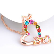 18K ROSE GOLD PLATED & GENUINE SWAROVSKI CRYSTAL HEART NECKLACE & EARRING SET