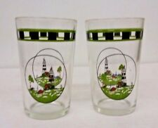 VTG Alco Industries Lighthouse Tumblers Drinking Cocktail Juice Glass Set Of 2