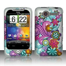 For HTC Wildfire 6225 Hard Case Protector Rubberized Cover Purple Blue Flowers